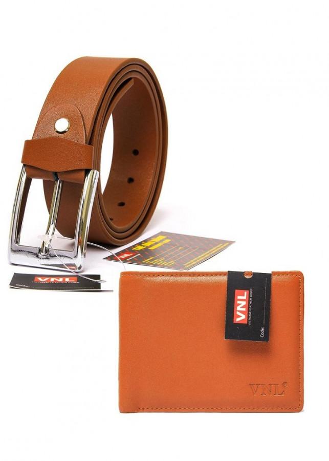 Bộ ví và thắt lưng nam da bò đầu kim cao cấp