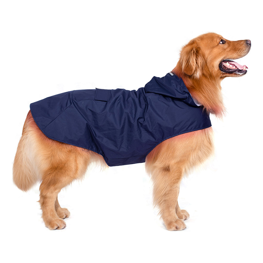 6XL Reflective Pet Dog Rain Coat Raincoat Rainwear with Leash Hole for Medium Large Dogs - dark blue