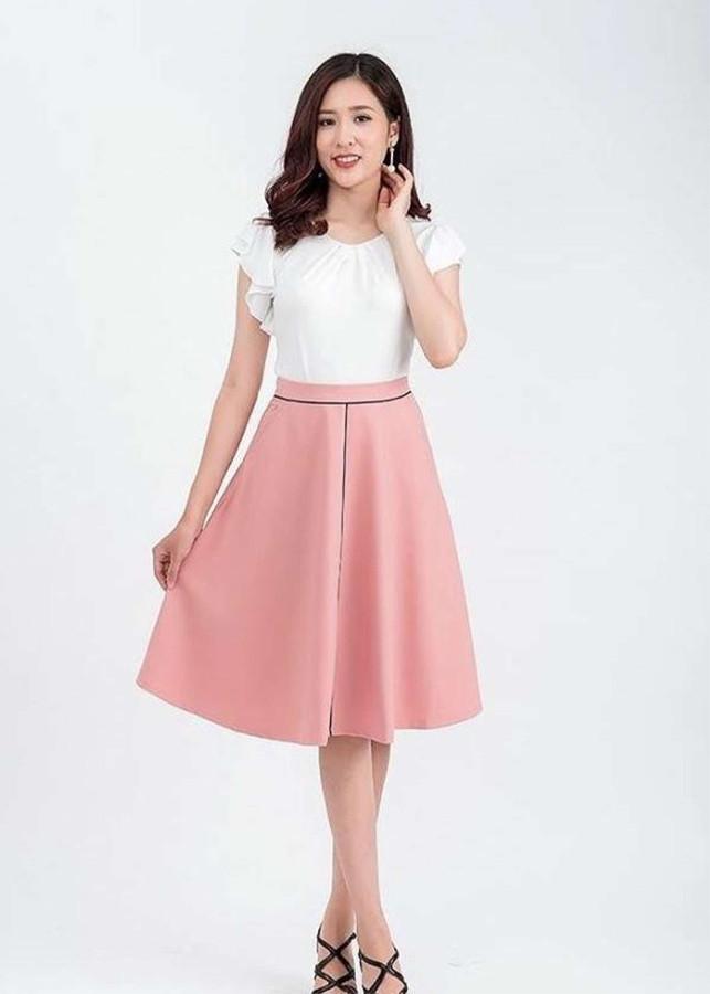 3249454168332 - Váy xòe công sở hồng viền