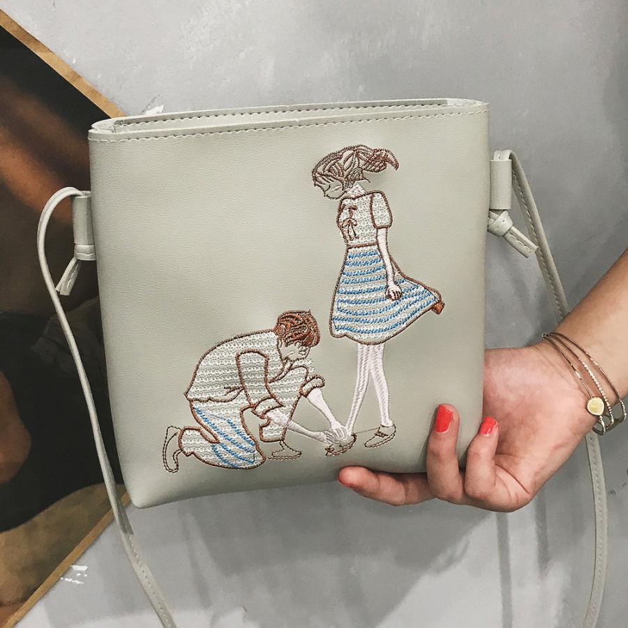 New PU Leather Shoulder Bag for Women Cute Cartoon Print Casual Crossbody Bags Girls Mini Bag Tote