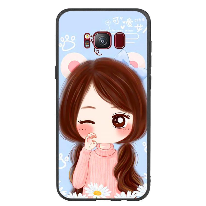 Ốp lưng nhựa cứng viền dẻo TPU cho điện thoại Samsung Galaxy S8 -Baby Girl
