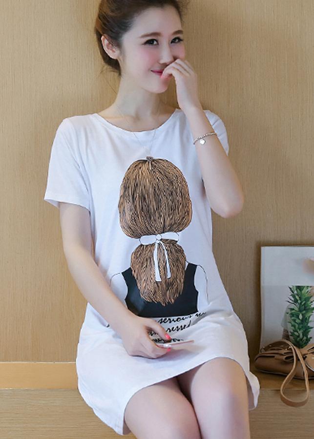 Đầm thun suông hình mái tóc trước ngực -0113