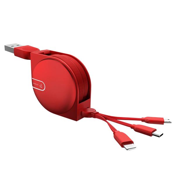 Cáp Rút 3 In 1 Kèm Giá Đỡ Điện Thoại Đầu Lightning + Micro + Type C Dài 1.5M (PVN449, PVN450, PVN451)