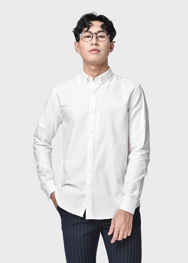 Áo sơ mi nam Routine vải oxford nhập khẩu màu trắng