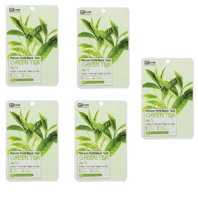 Combo 5 mặt nạ trị mụn chiết xuất trà xanh Benew Hàn quốc ( 22ml/gói)