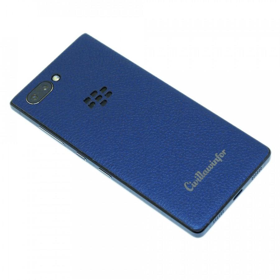 Ốp da dán Blackberry Key2 - Da thật nhập khẩu cao cấp - Davis (Navy vân)