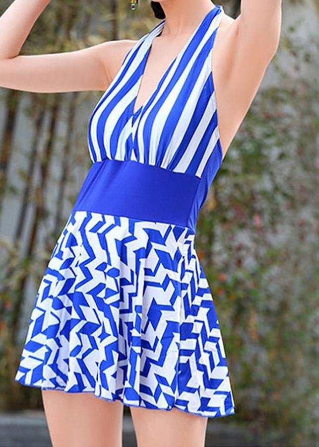 Bộ váy tắm biển sọc trắng xanh chất thun có đệm ngực điệu đà (ZICZAC- XANH)
