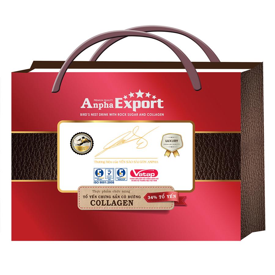 Tổ Yến Chưng Sẵn Anpha Export Collagen Đường Phèn 34% - Yến Sào Sài Gòn Anpha (8 Lọ / Lốc)