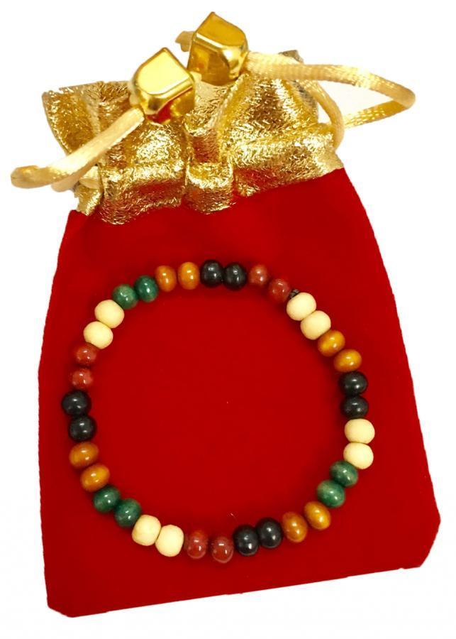 Vòng đeo tay hạt gỗ ngũ sắc cực đẹp VGNS01 (cỡ hạt 6li, có kèm túi nhung )
