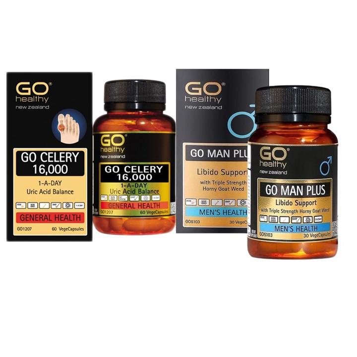 Combo Thực Phẩm Chức Năng Viên GOUT GO CELERY 16,000 1-A-DAY Uric Acid Balance và Viên bổ thận nam GO Man Plus - Tăng cường...