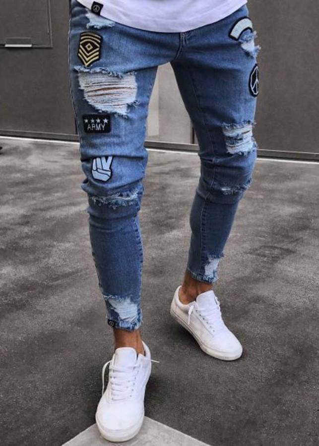 Quần jeans rách logo bàn tay Mã: ND1201 - XANH