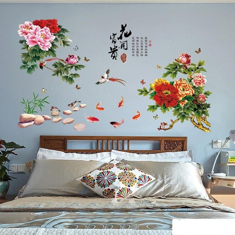 Decal dán tường hoa mẫu đơn
