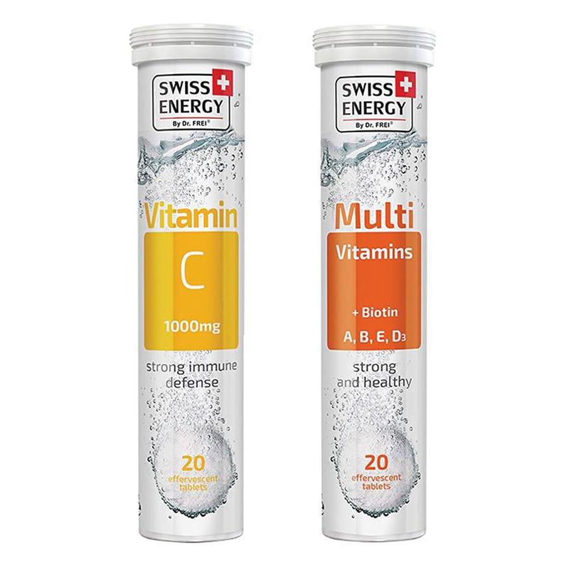 Bộ Thực Phẩm Bảo Vệ Sức Khoẻ Viên sủi Swiss Energy Multivitamins + Biotin Và  Swiss Energy Vitamin C ( 20 Viên/ Tuýp)