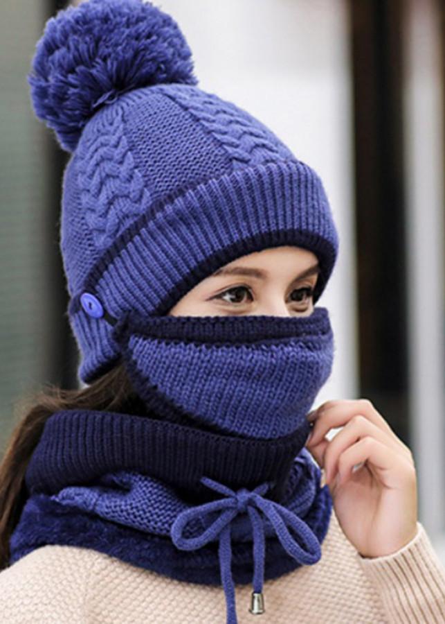 Bộ Mũ len, nón len trùm đầu và trùm cổ kèm khẩu trang A069