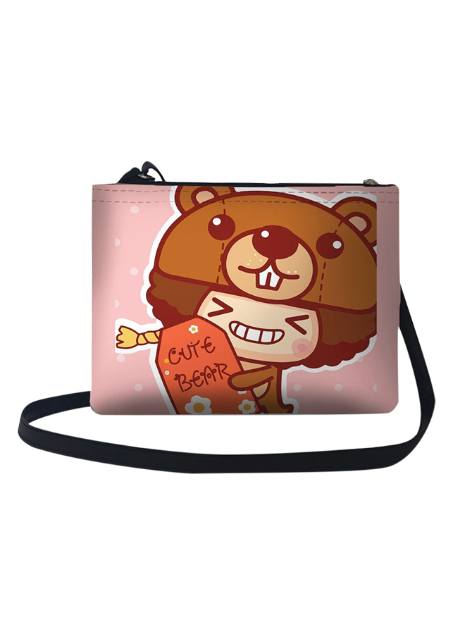 Túi Đeo Chéo Nữ In Hình Cô Bé Tóc Xù Cute Bear - TUCT120 (24 x 17 cm)