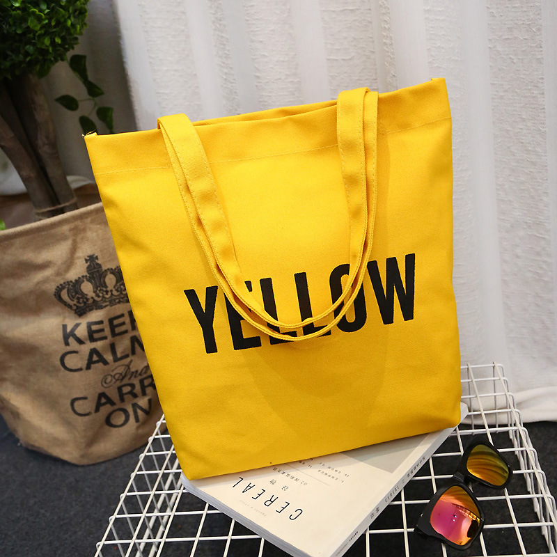 Women Tote Bag Canvas Contrast Letters Print Large Capacity Foldable Reusable Shoulder Shopping Bag