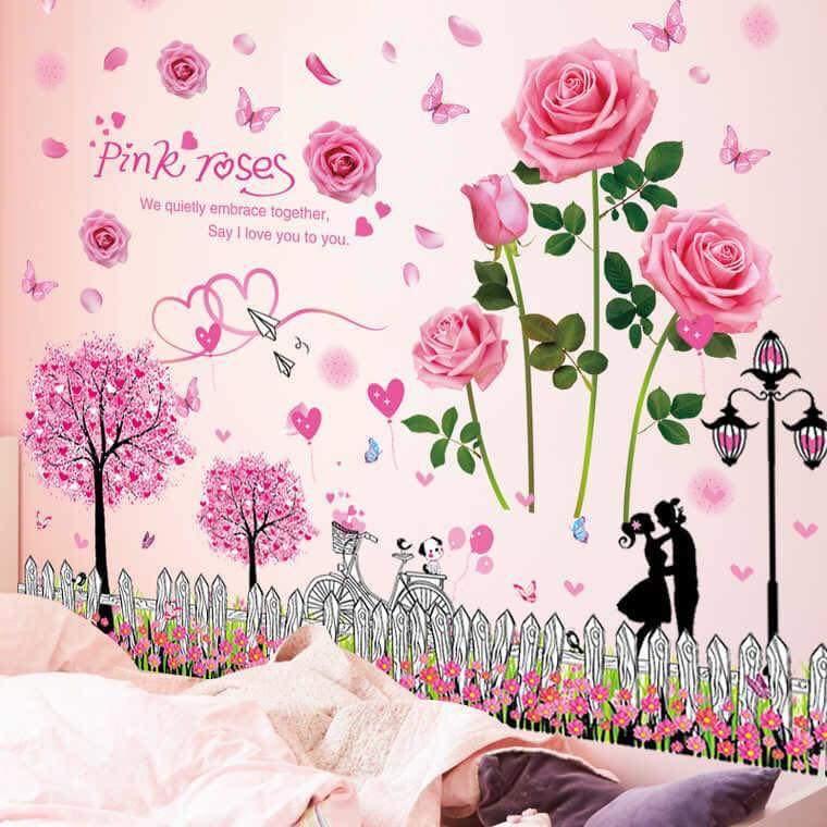 Decal dán tường hoa hồng phấn và hàng rào - HP194