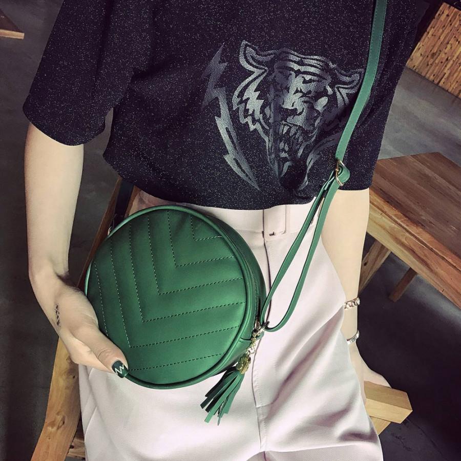 Women Quilted Crossbody Bag Tassel PU Leather Shoulder Messenger Bag Tote Handbag