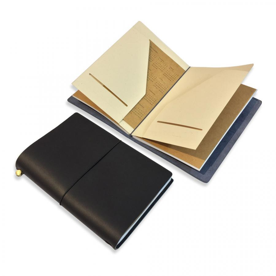 Sổ tay đẹp bìa da thật khắc tên - Sổ tay cho lữ khách - Leather Traveler Notebook Refillable - Jupiter 1L - Size 15,5x22cm