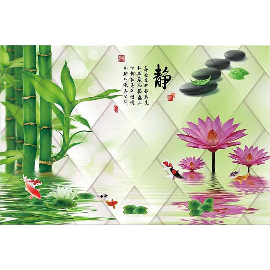 Tranh dán tường 3d | Tranh dán tường phong thủy hoa sen cá chép 3d 306