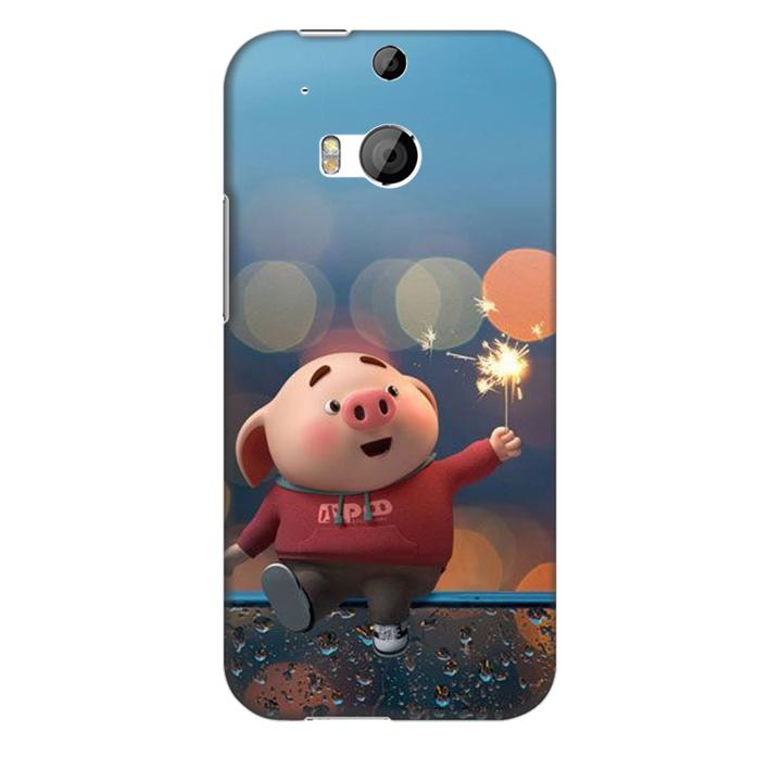 Ốp lưng nhựa cứng nhám dành cho HTC One M8 in hình Heo Pháo Bông