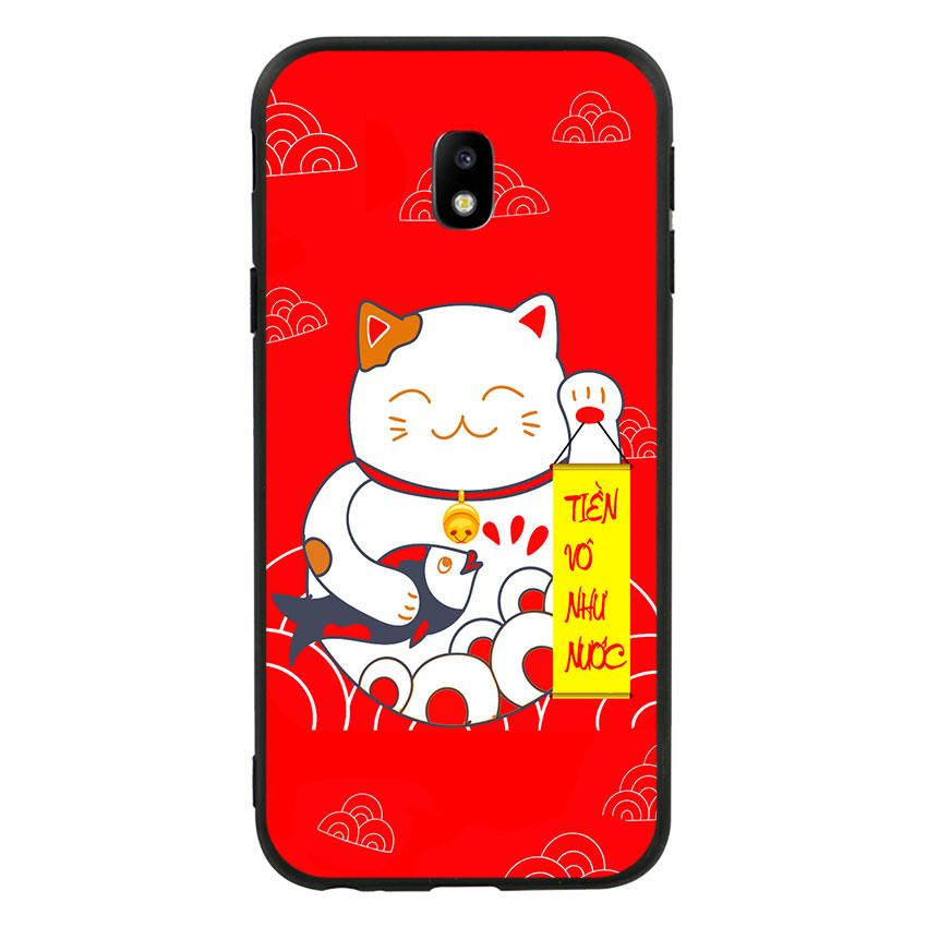 Ốp lưng viền TPU cao cấp cho Samsung Galaxy J3 Pro 2017 - Mèo may mắn 01