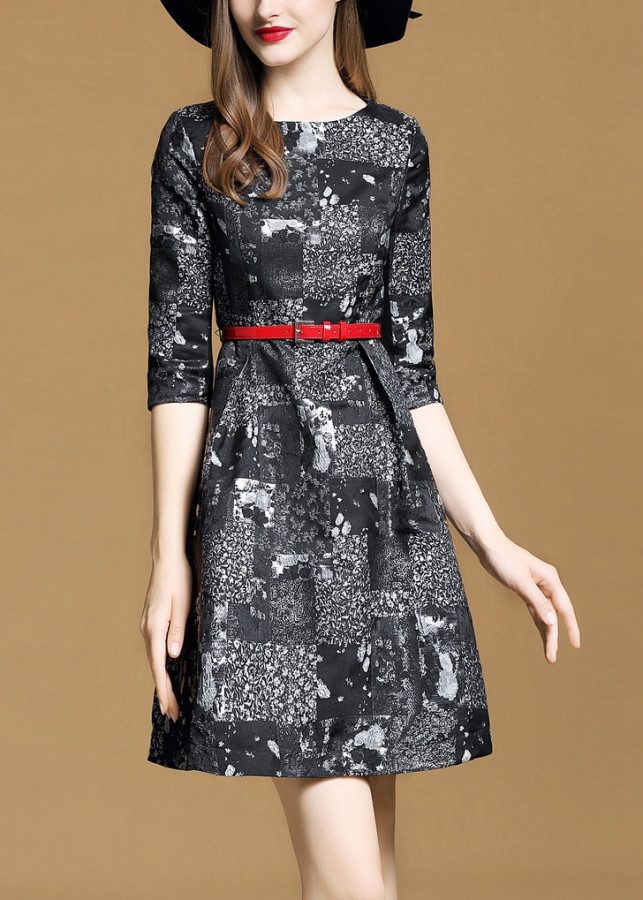 Đầm Xòe Gấm Họa Tiết Kèm Belt TT - TGT1836