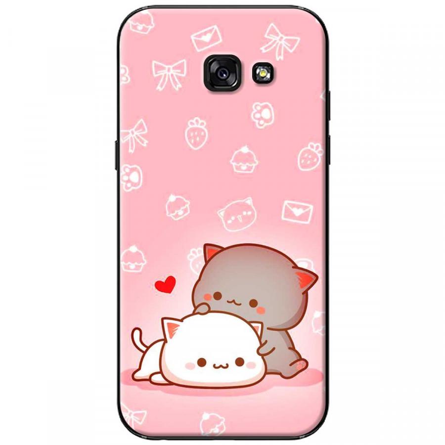 Ốp lưng dành cho Samsung A3 2017 Mèo mập nền hồng