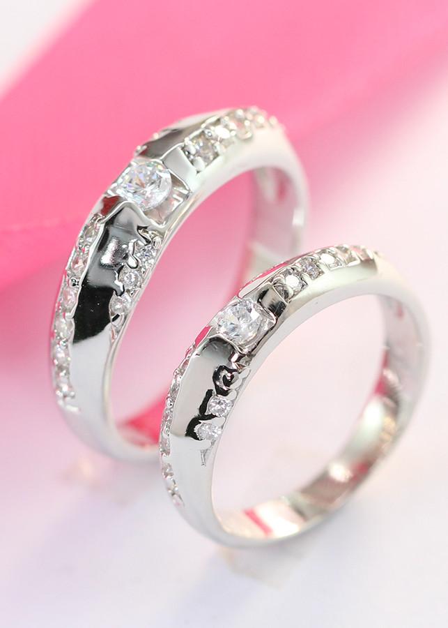 Nhẫn đôi bạc nhẫn cặp bạc đính đá ND0080