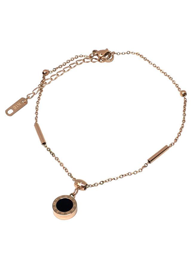 Lắc chân nữ titan vàng đồng Showfay Jewelry Vòng quay La Mã