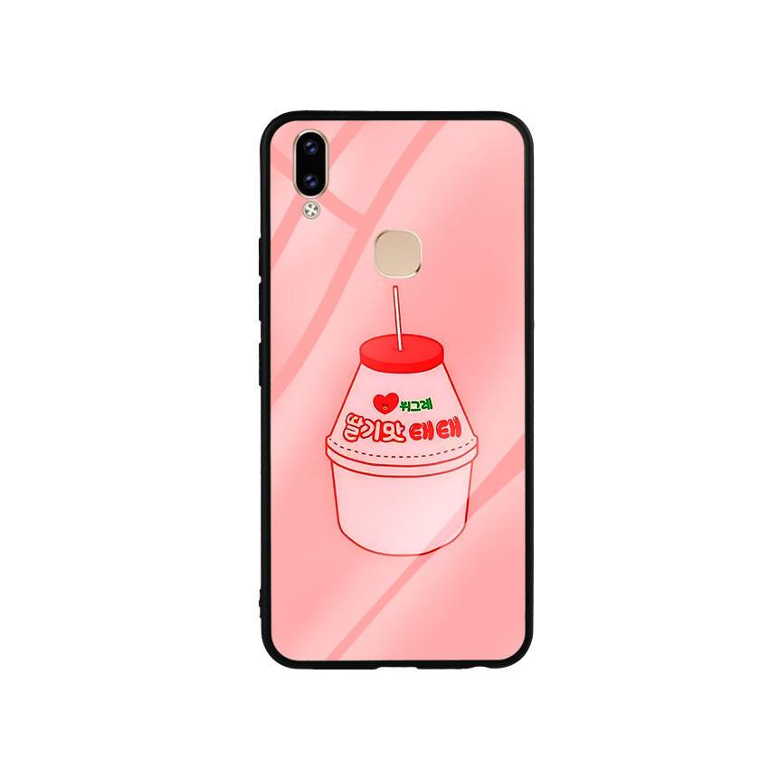 Ốp Lưng Kính Cường Lực cho điện thoại Vivo V9 - Tea Milk