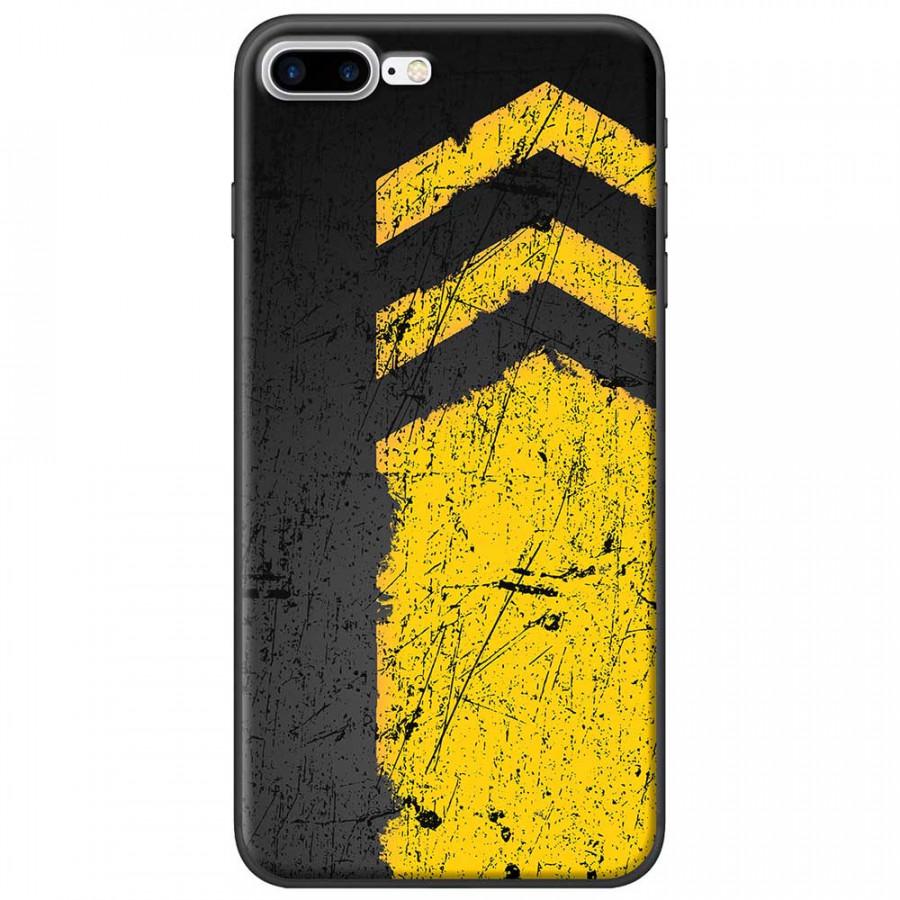 Ốp lưng dành cho iPhone 7 Plus mẫu Sọc vàng nền đen