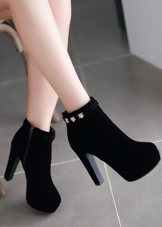 Boot nữ cổ ngắn cao gót 12cm hiện đại GBN18901