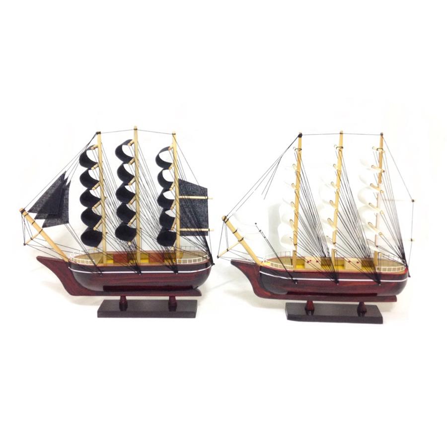 Combo 2 Mô Hình Thuyền Gỗ Trang Trí LeBelem - Thân tàu 25cm