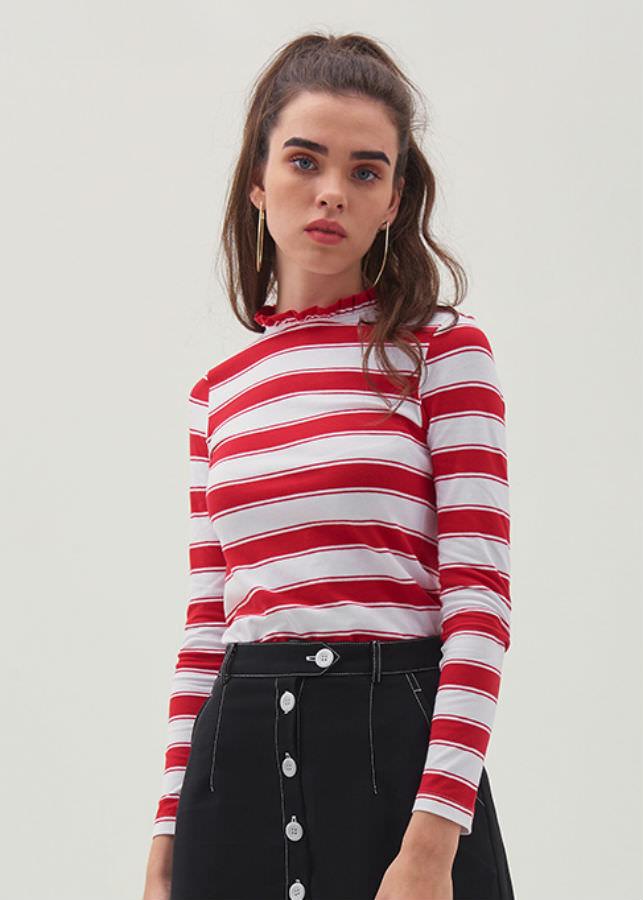 Áo Thun Nữ Sọc Đỏ Tay Dài Marc Fashion CN118618 - Đỏ