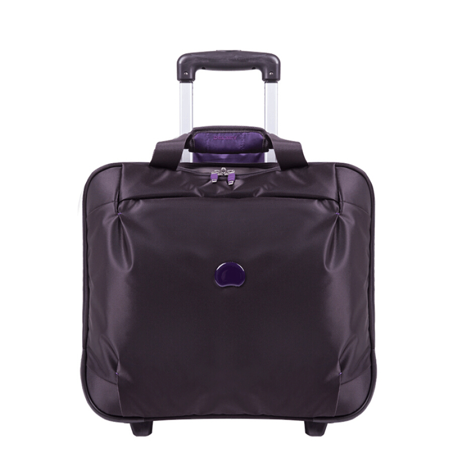 French Ambassador (Delsey) classic trolley case one-way wheel 18-inch suitcase slim simple soft box boarding suitcase travel bag purple gray...
