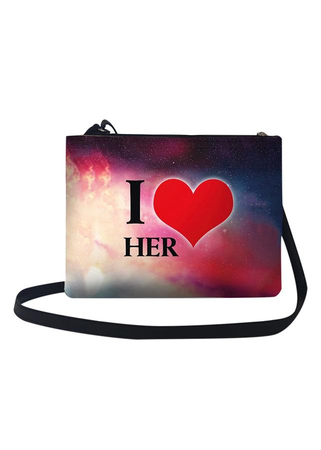 Túi Đeo Chéo Nữ In Hình I Love Her - TUCP007 (24 x 17 cm)