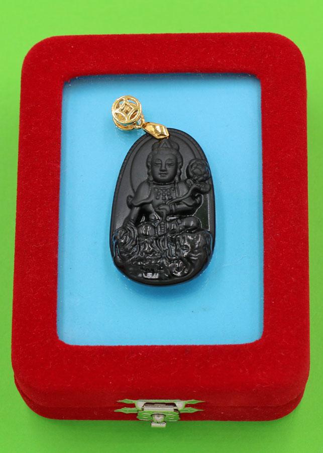 Mặt Phật Bồ Tát Phổ Hiền - thạch anh đen 3.6cm - kèm hộp nhung -  tuổi Thìn, Tỵ