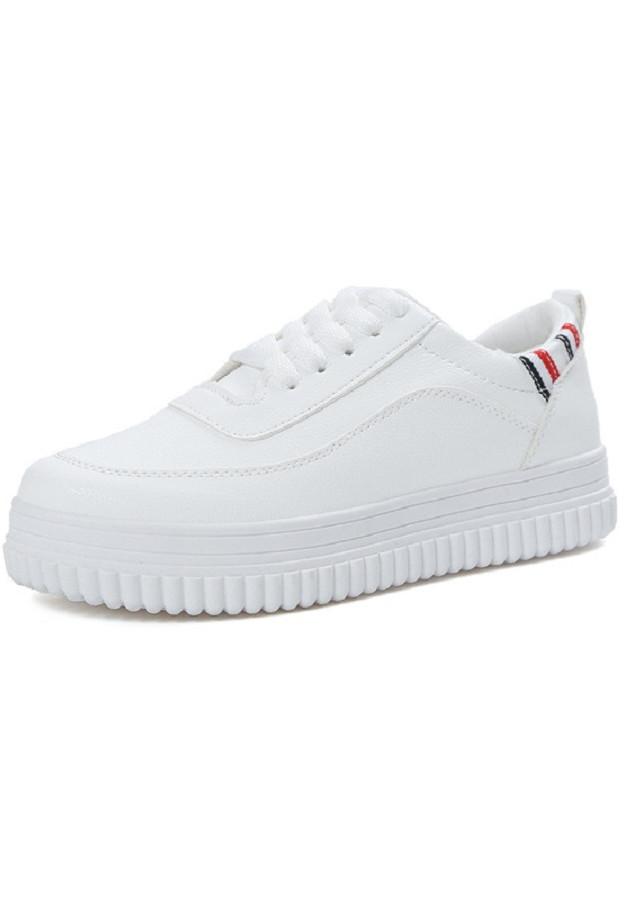 Giày sneaker nữ màu trắng năng động điểm viền sọc