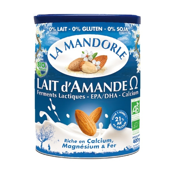 Thùng 6 hộp sữa bột hạnh nhân omega hữu cơ La mandorle 400g