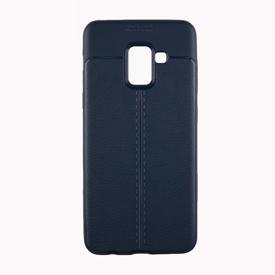 Ốp Lưng cho Samsung A8 2018 Ốp Vân Da Auto - xanh (NK)