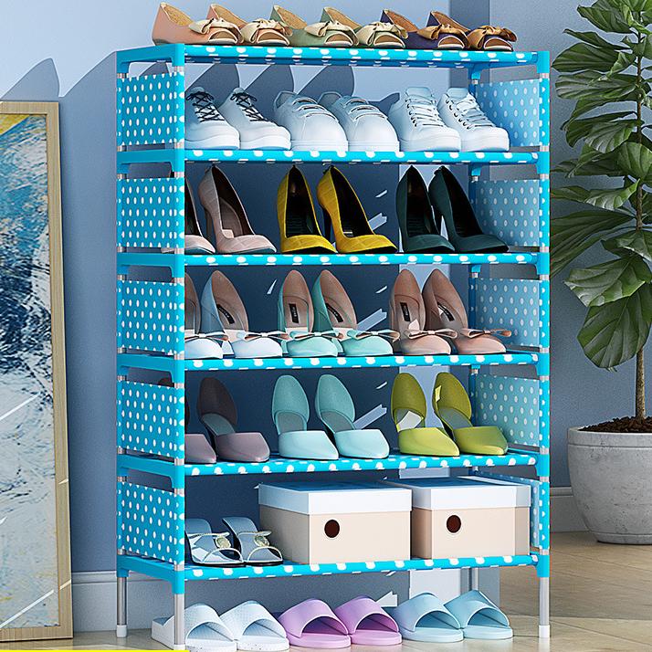 Kệ để giày dép quần áo khung kim loại 6 tầng họa tiết hình hoa HB-6R
