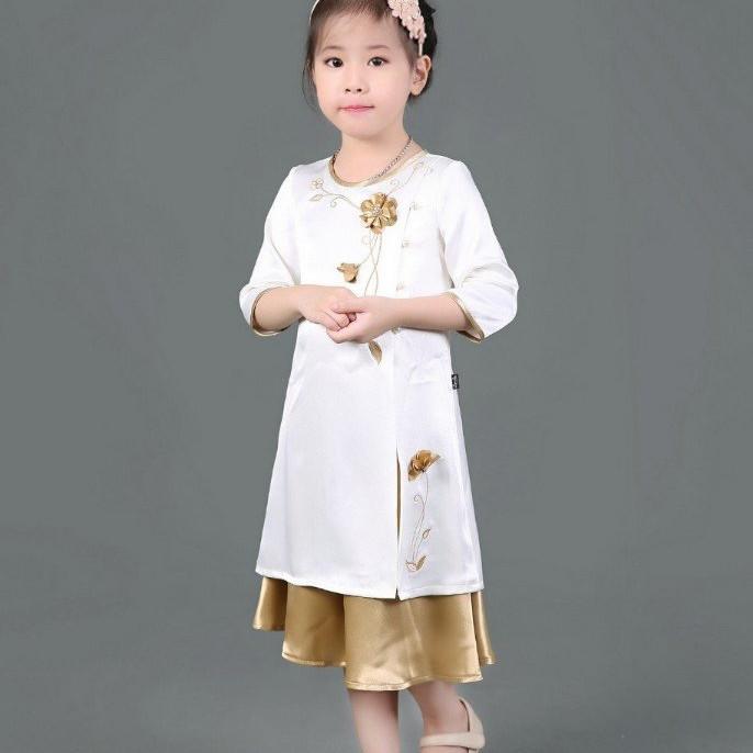 Áo dài cách tân bé gái may hoa thủ công 1-7 tuổi