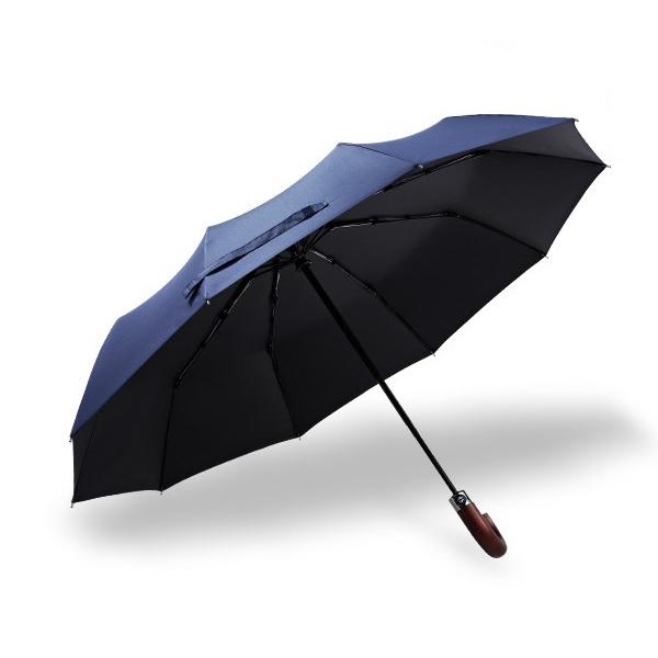 Ô dù cầm tay tự động cao cấp chống tia UV tay cầm gỗ cong (Blue)