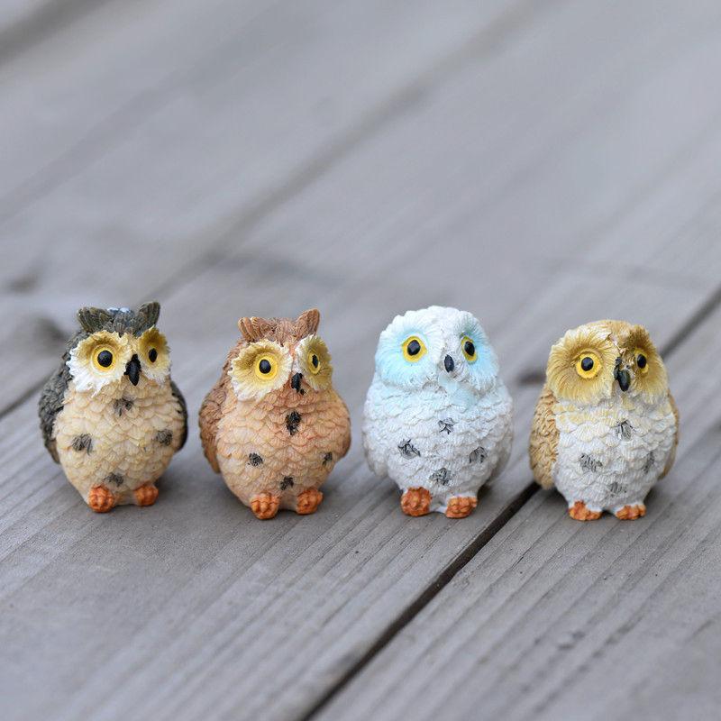 4Pcs Miniature Owls Garden Craft Terrarium DIY Landscape Decor Home Room