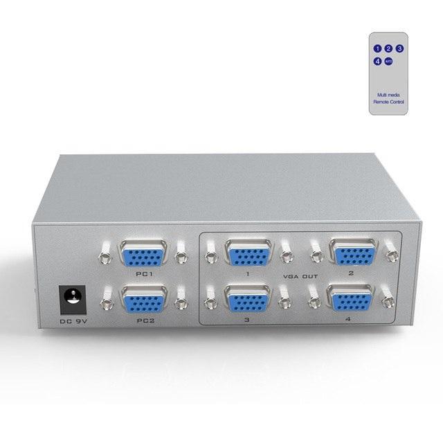 Bộ chia màn hình VGA 2 ra 4- 350Mhz (MT-204CB) có điều khiển - Chính hãng