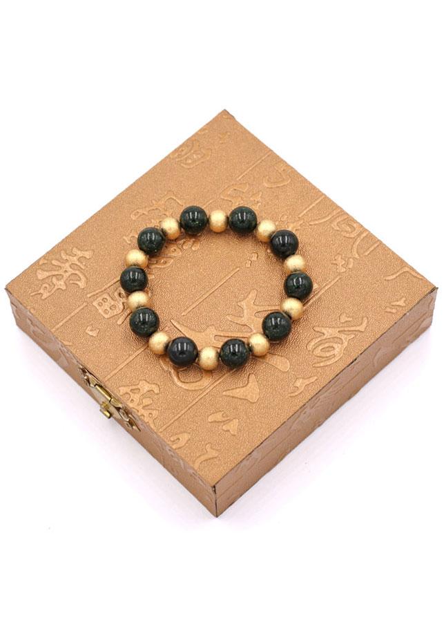 Chuỗi đeo tay - đá lục sa 10 ly VLUSHVT1 - kèm hộp gỗ - vòng tay đá phong thủy