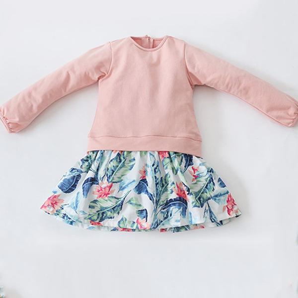 Đầm Thun Tay Dài Bé Gái Phối Váy Hoa Amprin D287