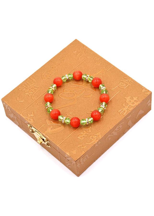 Vòng đeo tay chuỗi hạt đá mắt mèo đỏ 8 ly FTTOV41 kèm hộp gỗ