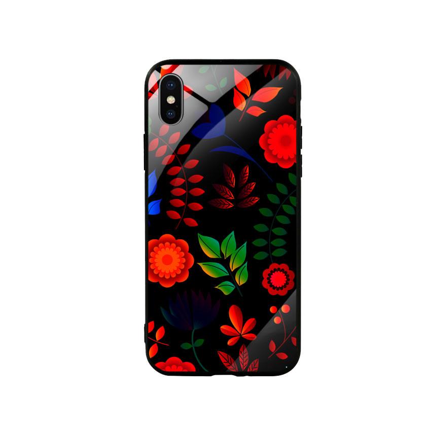 Ốp lưng kính cường lực cho điện thoại Iphone X / Xs - Flower 09